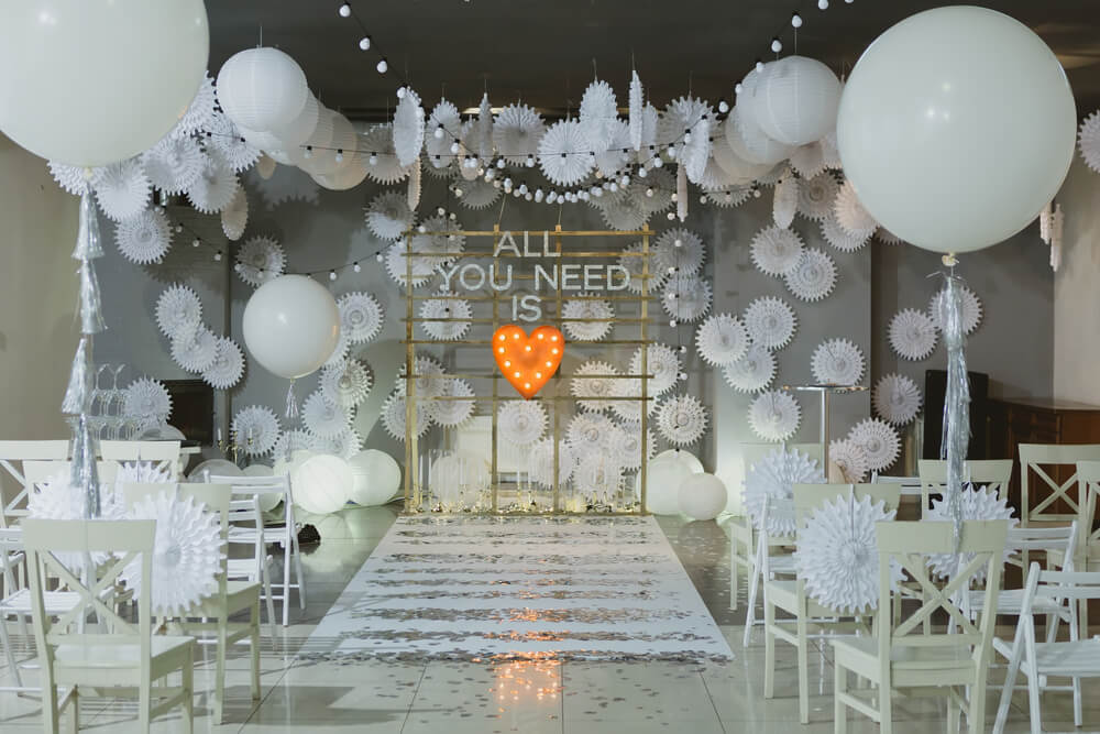 white wedding venue